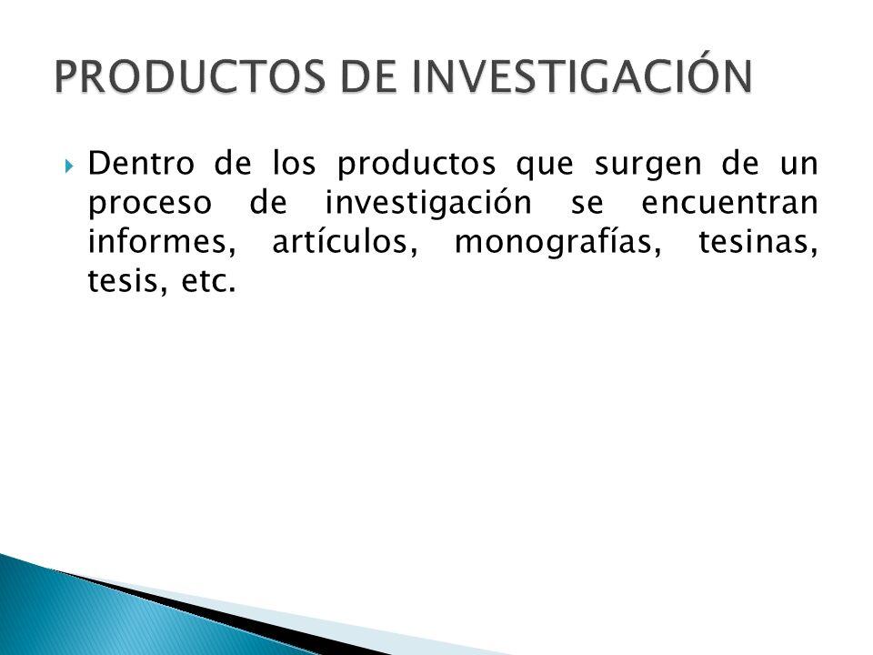 Dentro de los productos que surgen de un proceso de investigación se encuentran informes, artículos, monografías, tesinas, tesis, etc.