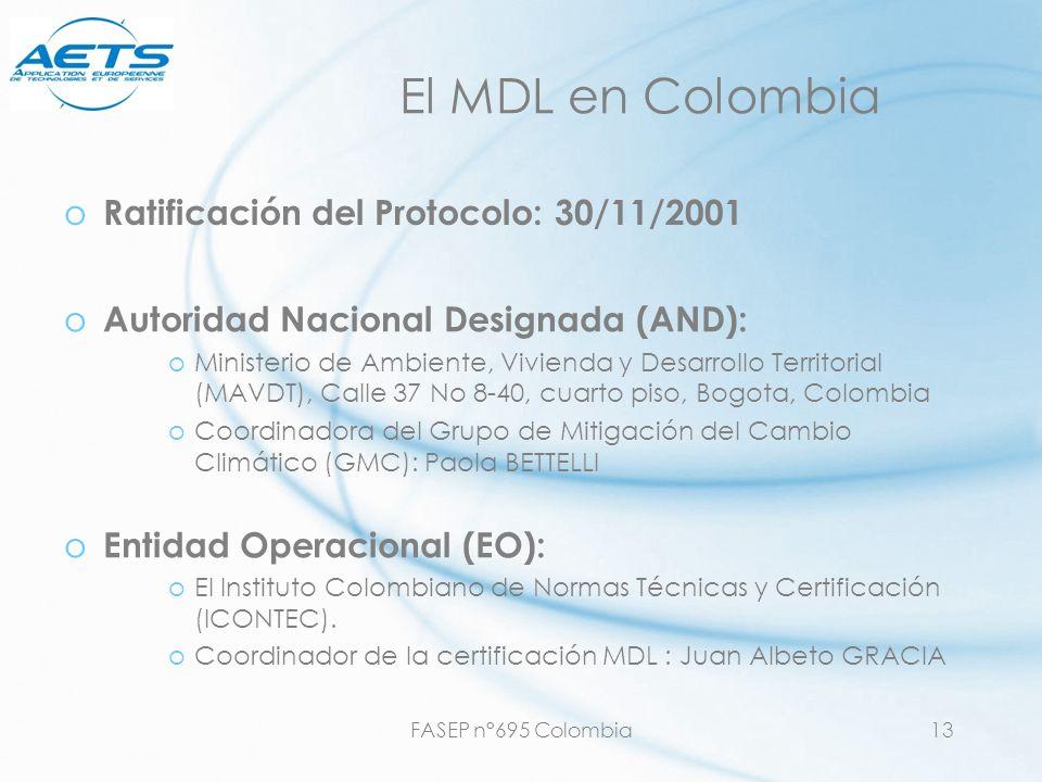 FASEP n°695 Colombia13 El MDL en Colombia o Autoridad Nacional Designada (AND): oMinisterio de Ambiente, Vivienda y Desarrollo Territorial (MAVDT), Ca