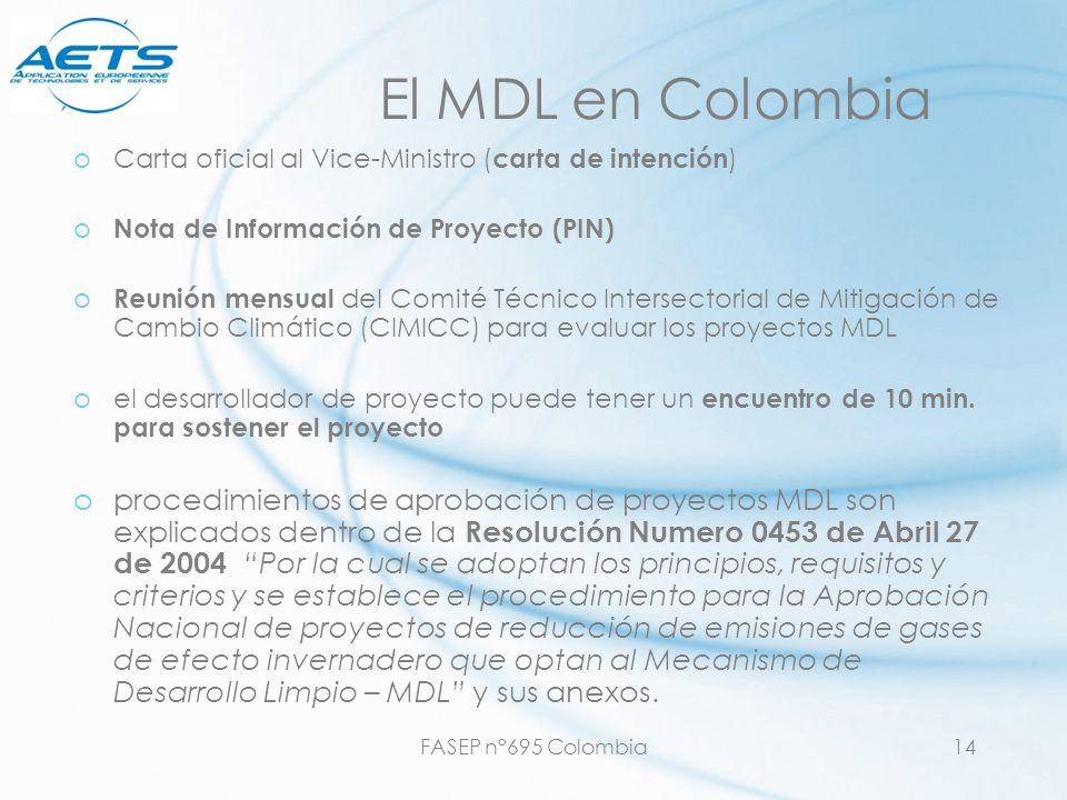 FASEP n°695 Colombia14 El MDL en Colombia oCarta oficial al Vice-Ministro ( carta de intención ) o Nota de Información de Proyecto (PIN) o Reunión men