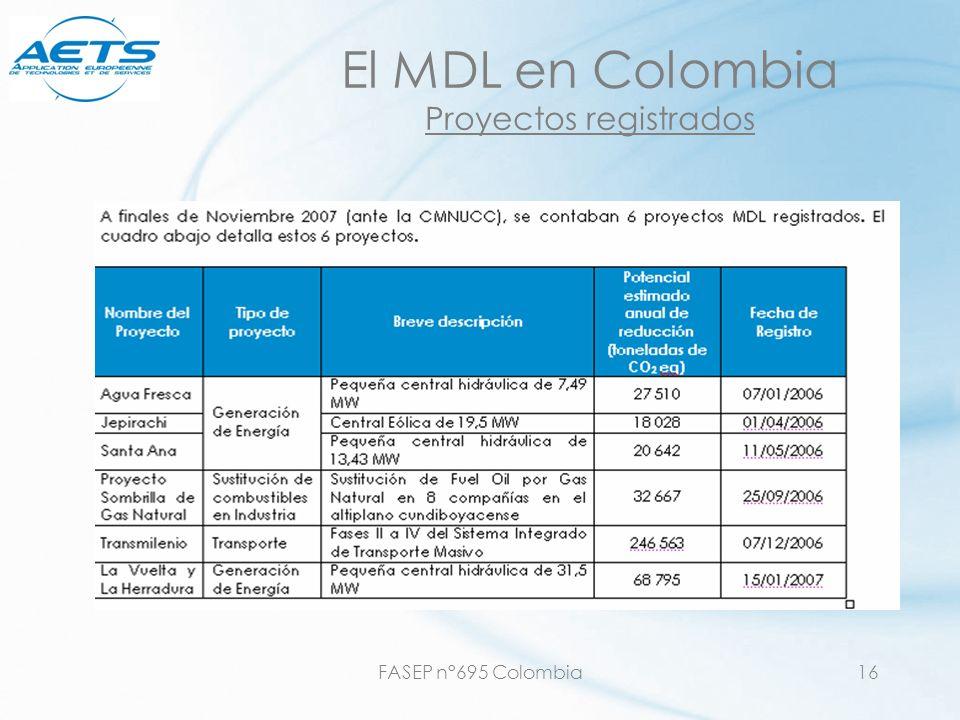 FASEP n°695 Colombia16 El MDL en Colombia Proyectos registrados