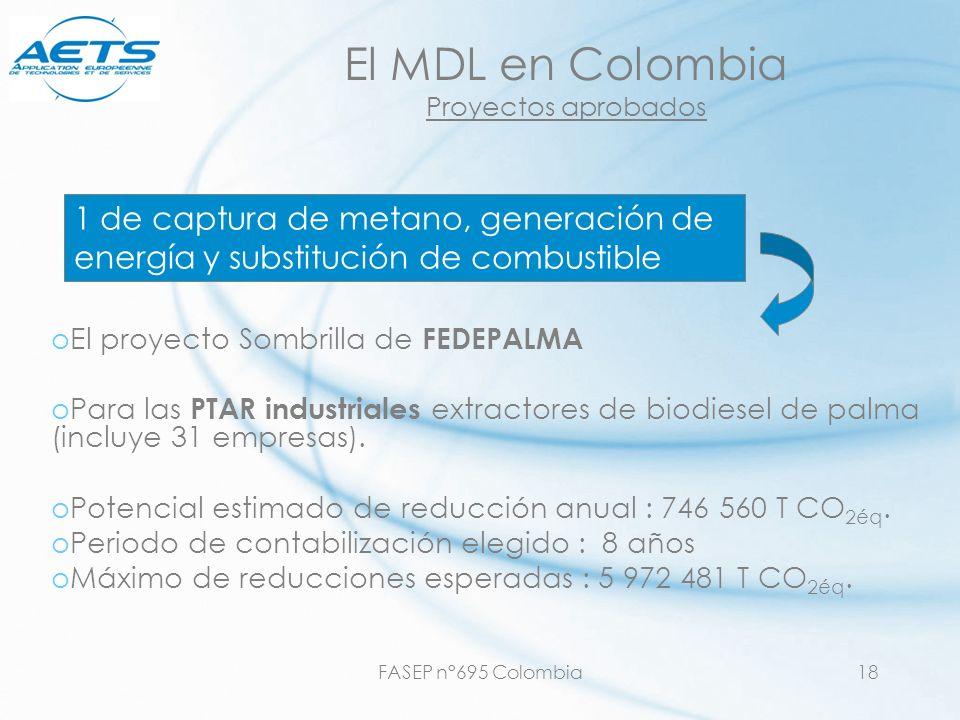 FASEP n°695 Colombia18 El MDL en Colombia Proyectos aprobados oEl proyecto Sombrilla de FEDEPALMA oPara las PTAR industriales extractores de biodiesel