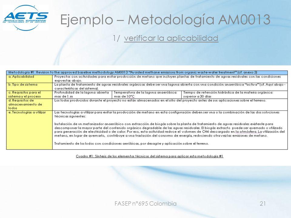 FASEP n°695 Colombia21 Ejemplo – Metodología AM0013 1/ verificar la aplicabilidad