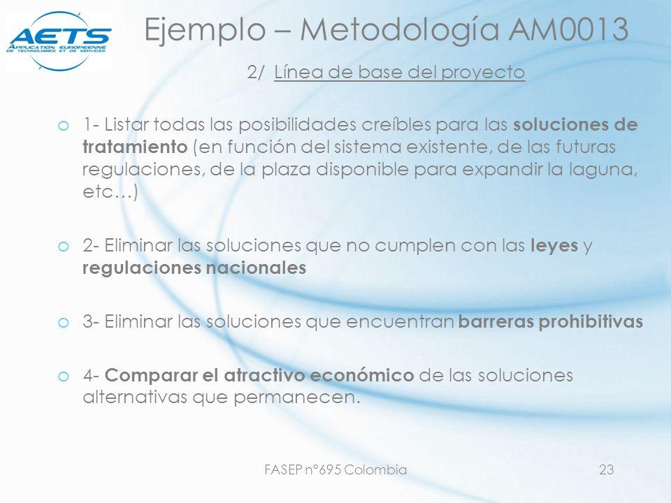 FASEP n°695 Colombia23 Ejemplo – Metodología AM0013 2/ Línea de base del proyecto o1- Listar todas las posibilidades creíbles para las soluciones de t