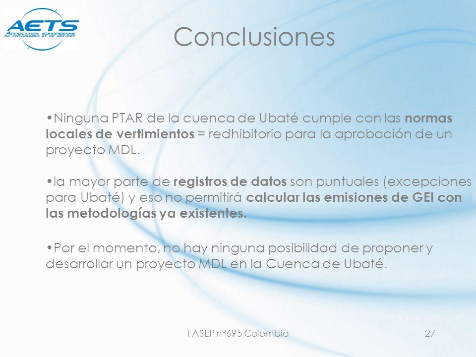 FASEP n°695 Colombia27 Conclusiones Ninguna PTAR de la cuenca de Ubaté cumple con las normas locales de vertimientos = redhibitorio para la aprobación