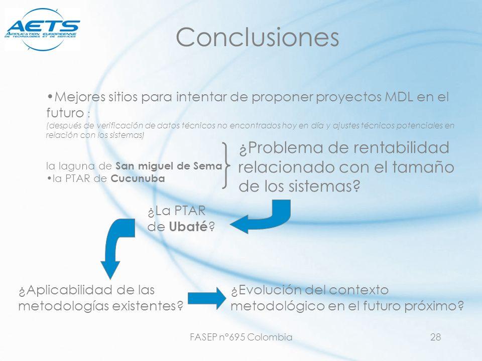 FASEP n°695 Colombia28 Conclusiones Mejores sitios para intentar de proponer proyectos MDL en el futuro : (después de verificación de datos técnicos n