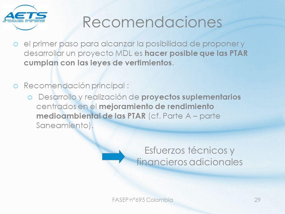 FASEP n°695 Colombia29 Recomendaciones oel primer paso para alcanzar la posibilidad de proponer y desarrollar un proyecto MDL es hacer posible que las