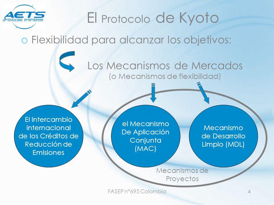 FASEP n°695 Colombia4 Mecanismos de Proyectos El Protocolo de Kyoto oFlexibilidad para alcanzar los objetivos: Los Mecanismos de Mercados (o Mecanismo