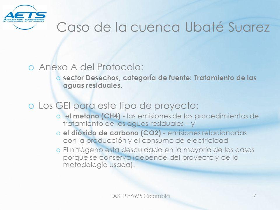 FASEP n°695 Colombia7 Caso de la cuenca Ubaté Suarez oAnexo A del Protocolo: o sector Desechos, categoría de fuente: Tratamiento de las aguas residual