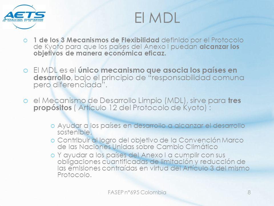 FASEP n°695 Colombia8 El MDL o 1 de los 3 Mecanismos de Flexibilidad definido por el Protocolo de Kyoto para que los países del Anexo I puedan alcanza