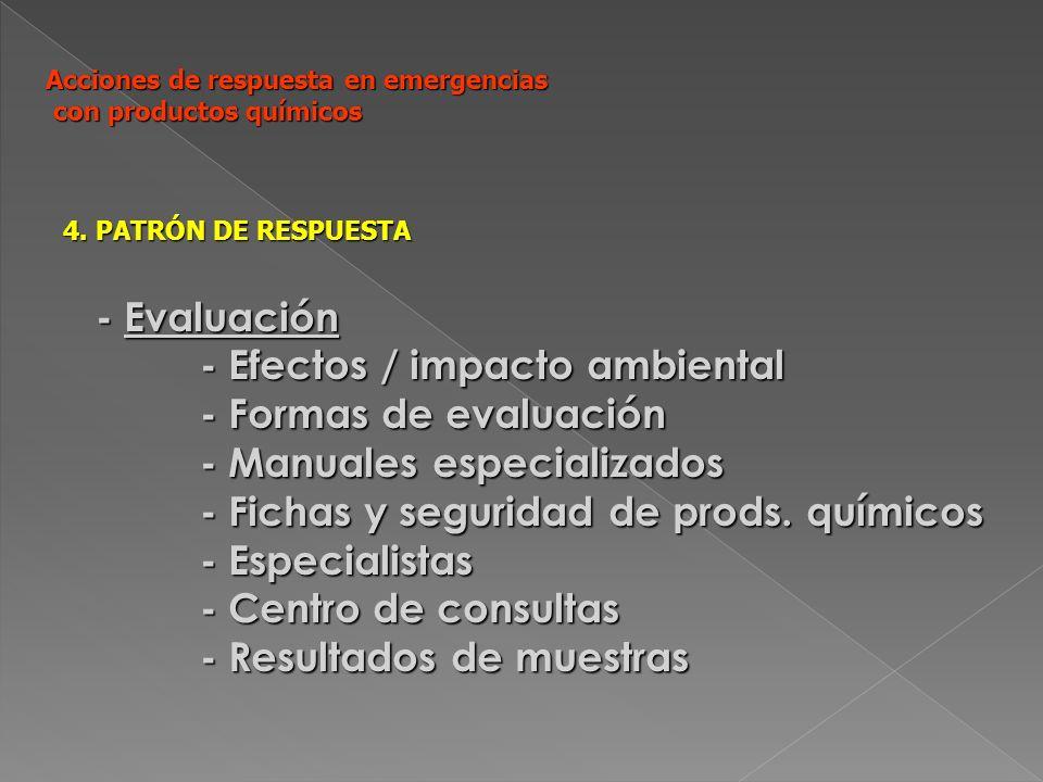 Acciones de respuesta en emergencias con productos químicos 4. PATRÓN DE RESPUESTA - Evaluación - Efectos / impacto ambiental - Formas de evaluación -