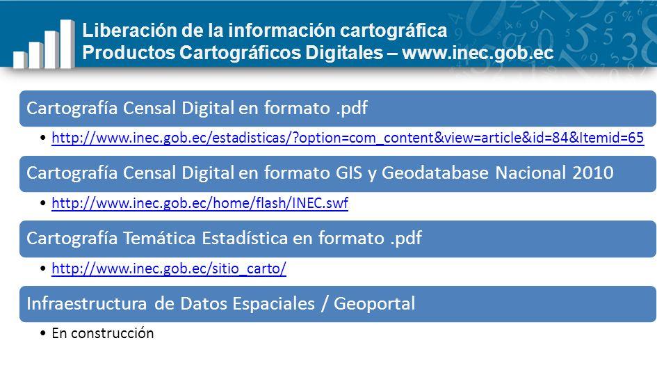 Liberación de la información cartográfica Productos Cartográficos Digitales – www.inec.gob.ec Cartografía Censal Digital en formato.pdf http://www.ine