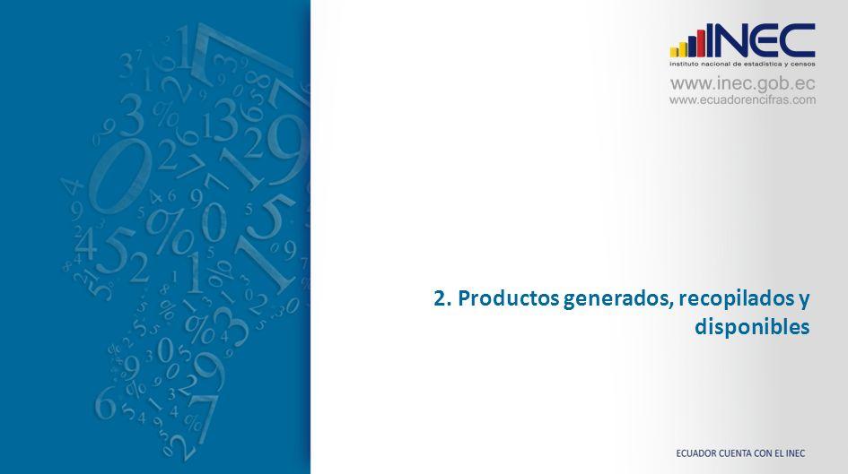 2. Productos generados, recopilados y disponibles