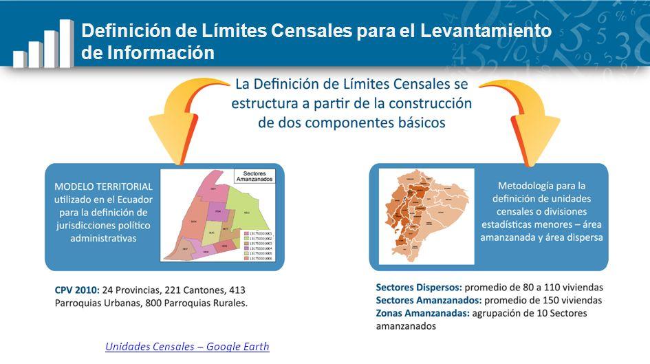 Definición de Límites Censales para el Levantamiento de Información Unidades Censales – Google Earth