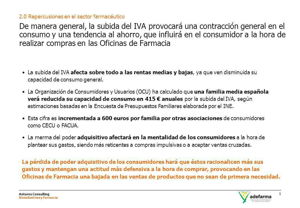 Antares Consulting Bioindustrias y Farmacia 5 De manera general, la subida del IVA provocará una contracción general en el consumo y una tendencia al
