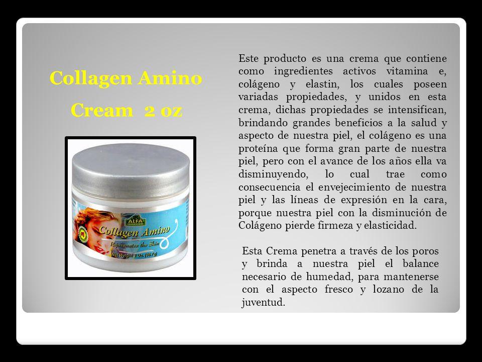 Collagen Amino Cream 2 oz Este producto es una crema que contiene como ingredientes activos vitamina e, colágeno y elastin, los cuales poseen variadas