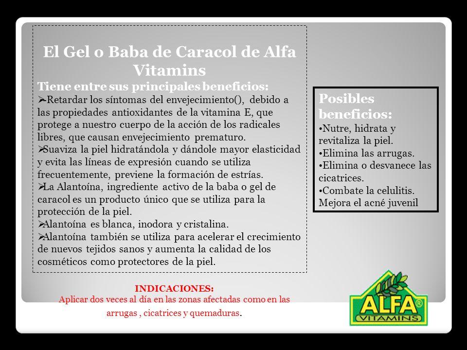 El Gel o Baba de Caracol de Alfa Vitamins Tiene entre sus principales beneficios: -Retardar los síntomas del envejecimiento(), debido a las propiedade