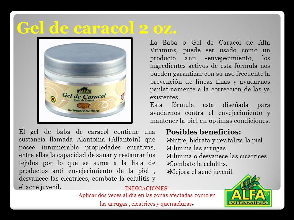 Gel de caracol 2 oz. El gel de baba de caracol contiene una sustancia llamada Alantoína (Allantoin) que posee innumerable propiedades curativas, entre