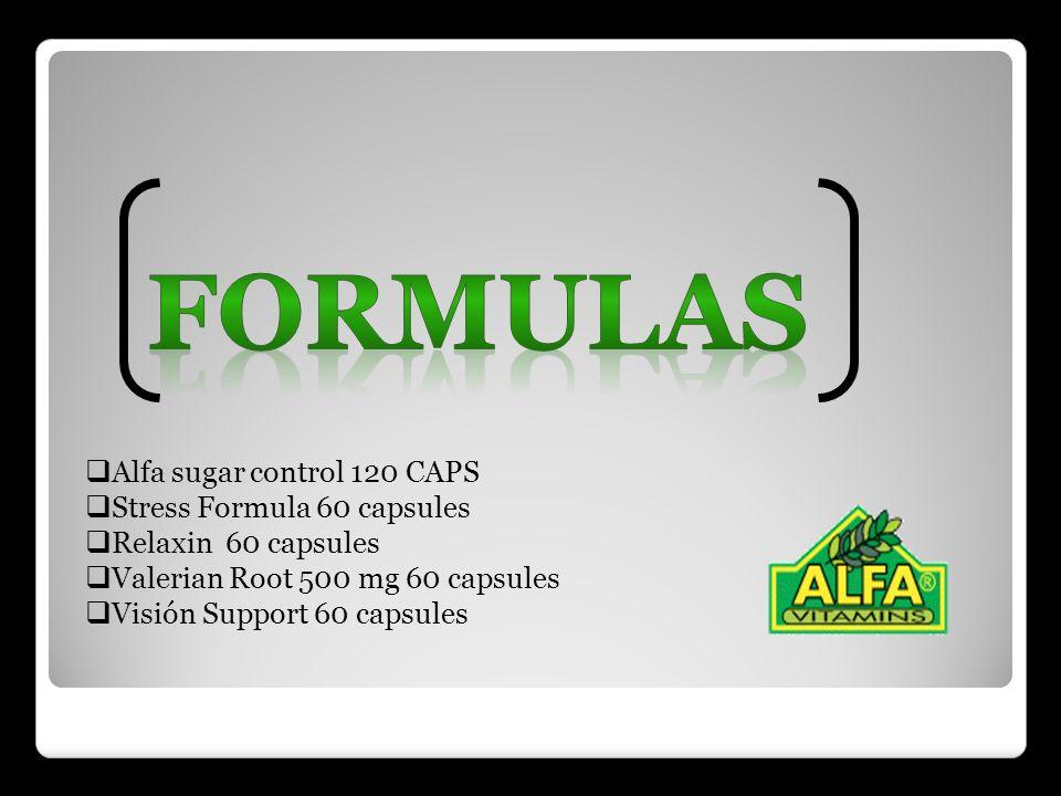 Alfa sugar control 120 CAPS Stress Formula 60 capsules Relaxin 60 capsules Valerian Root 500 mg 60 capsules Visión Support 60 capsules