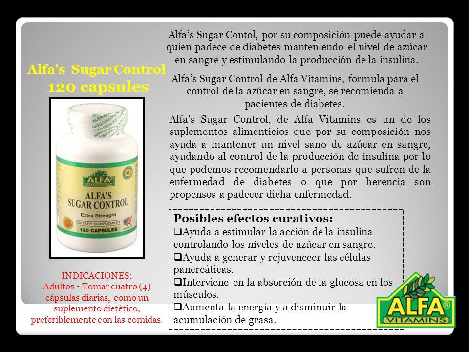 Alfa's Sugar Control 120 capsules Alfas Sugar Control de Alfa Vitamins, formula para el control de la azúcar en sangre, se recomienda a pacientes de d