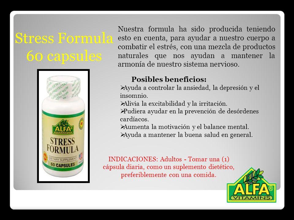 Stress Formula 60 capsules Nuestra formula ha sido producida teniendo esto en cuenta, para ayudar a nuestro cuerpo a combatir el estrés, con una mezcl