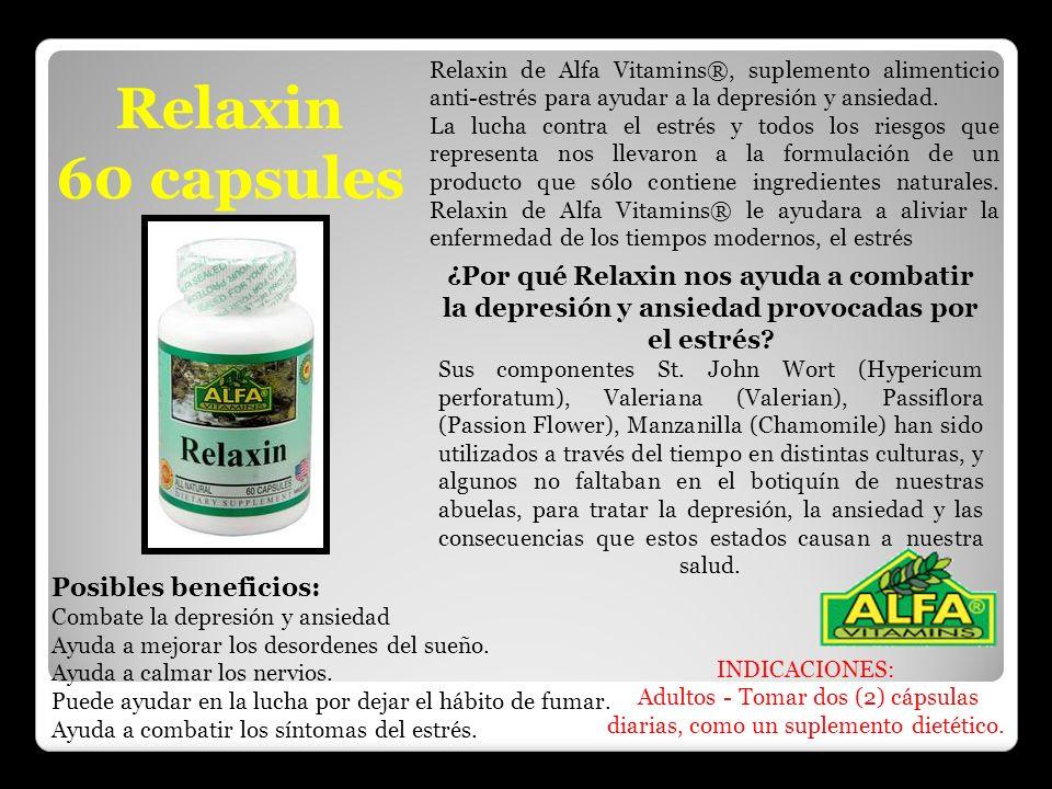 Relaxin 60 capsules Relaxin de Alfa Vitamins®, suplemento alimenticio anti-estrés para ayudar a la depresión y ansiedad. La lucha contra el estrés y t