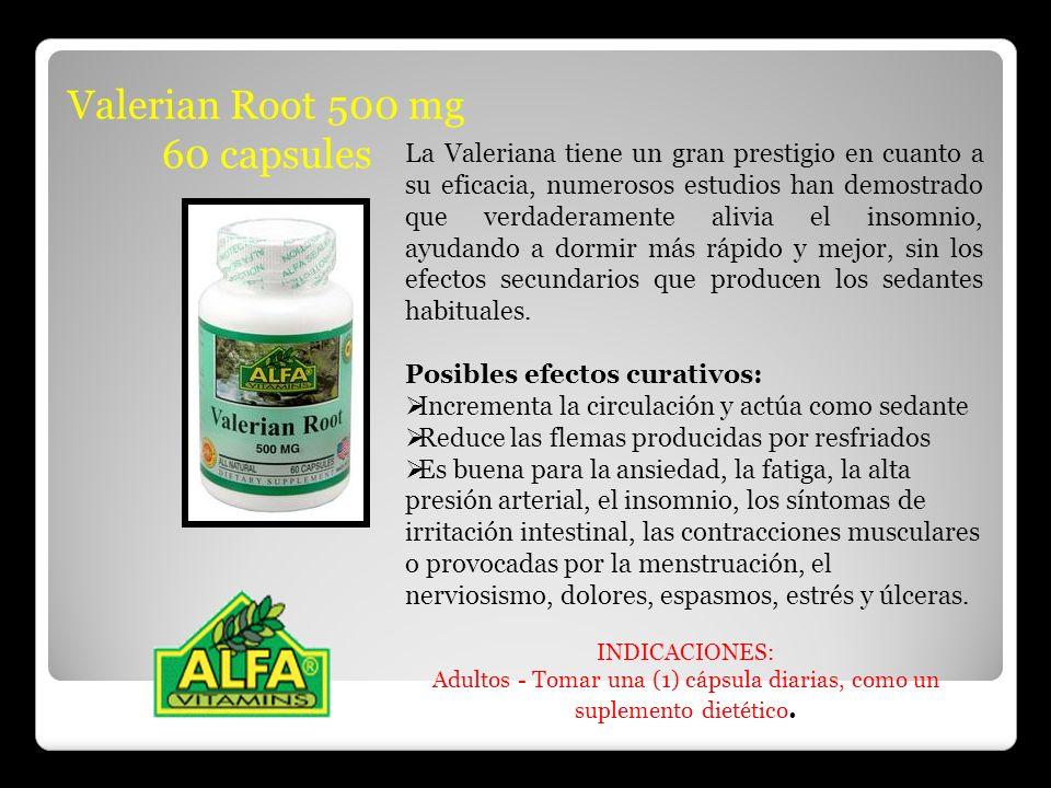 Valerian Root 500 mg 60 capsules La Valeriana tiene un gran prestigio en cuanto a su eficacia, numerosos estudios han demostrado que verdaderamente al