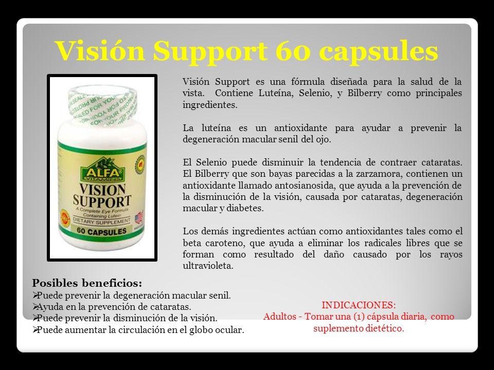 Visión Support 60 capsules Visión Support es una fórmula diseñada para la salud de la vista. Contiene Luteína, Selenio, y Bilberry como principales in