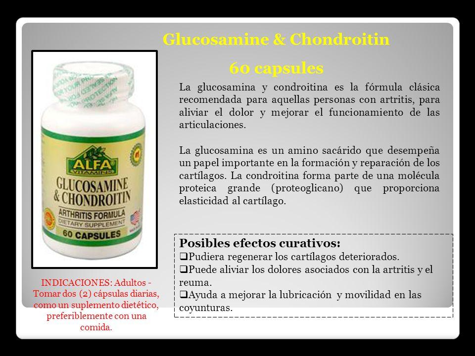 Glucosamine & Chondroitin 60 capsules La glucosamina y condroitina es la fórmula clásica recomendada para aquellas personas con artritis, para aliviar