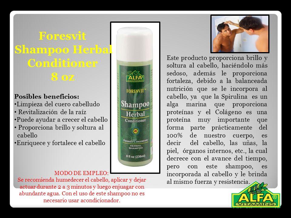 Foresvit Shampoo Herbal Conditioner 8 oz Este producto proporciona brillo y soltura al cabello, haciéndolo más sedoso, además le proporciona fortaleza