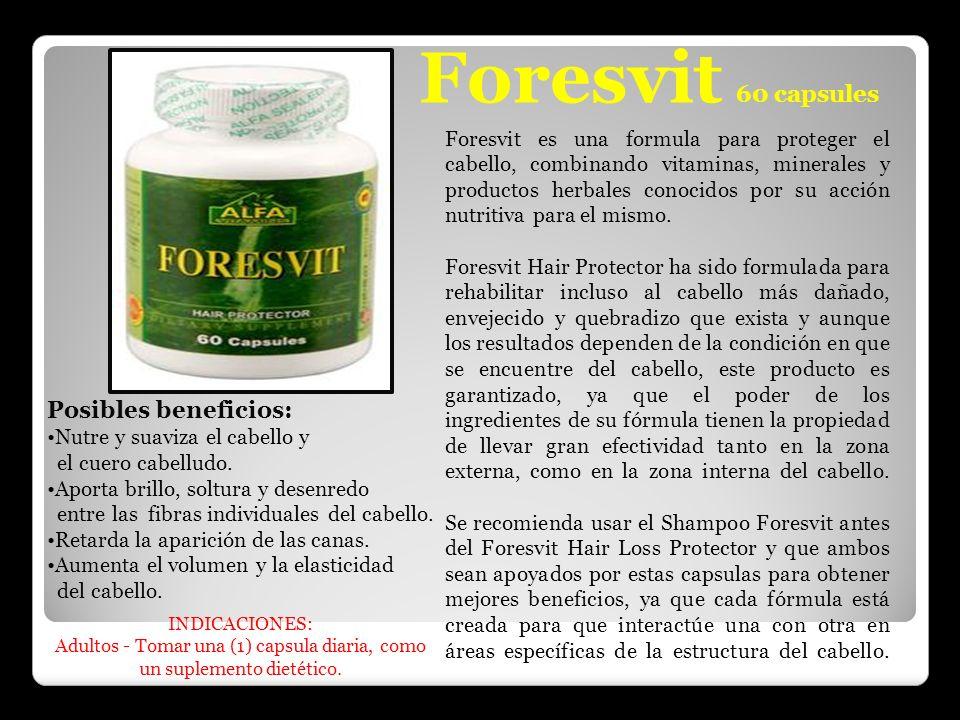 Foresvit 60 capsules Foresvit es una formula para proteger el cabello, combinando vitaminas, minerales y productos herbales conocidos por su acción nu