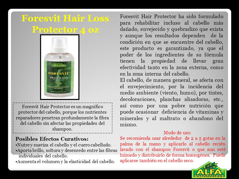 Foresvit Hair Loss Protector 4 oz Foresvit Hair Protector ha sido formulado para rehabilitar incluso al cabello más dañado, envejecido y quebradizo qu