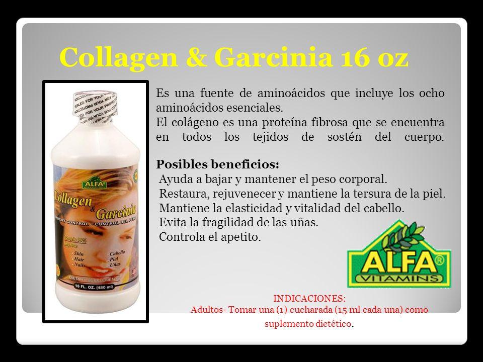 Collagen & Garcinia 16 oz Es una fuente de aminoácidos que incluye los ocho aminoácidos esenciales. El colágeno es una proteína fibrosa que se encuent