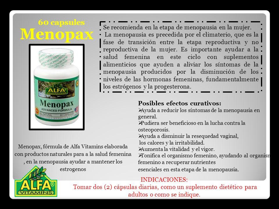Menopax Menopax, fórmula de Alfa Vitamins elaborada con productos naturales para a la salud femenina, en la menopausia ayudar a mantener los estrogeno