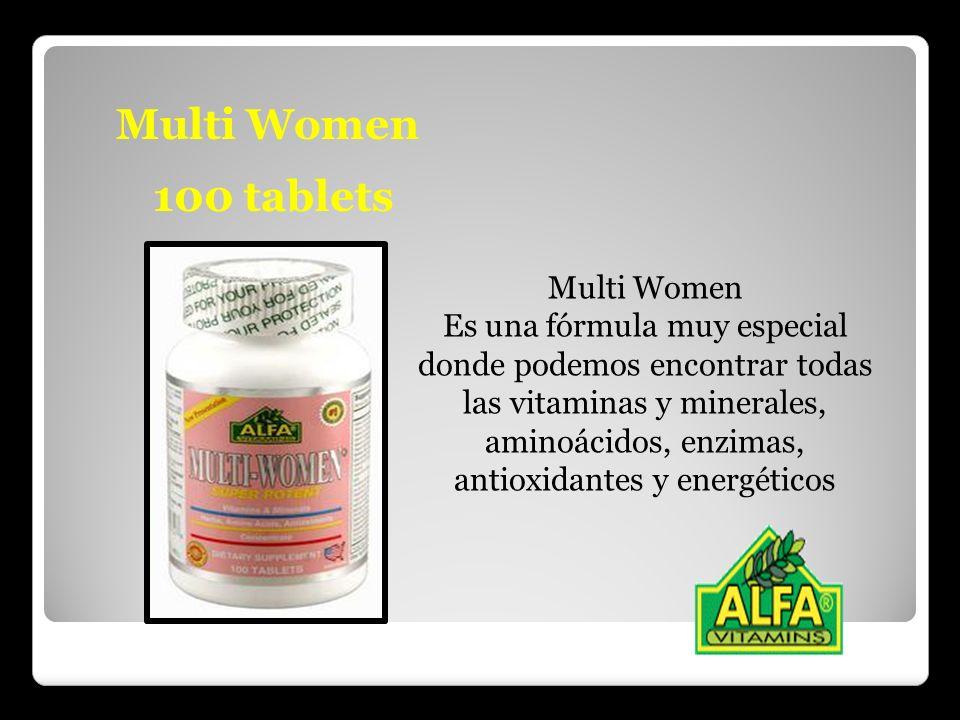 Multi Women 100 tablets Multi Women Es una fórmula muy especial donde podemos encontrar todas las vitaminas y minerales, aminoácidos, enzimas, antioxi