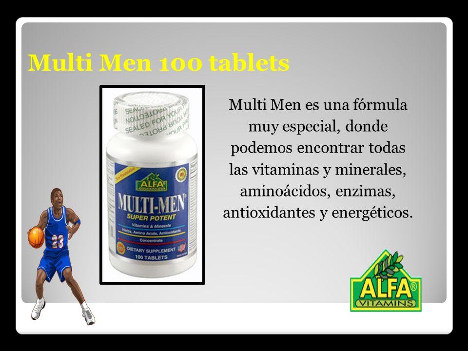 Multi Men 100 tablets Multi Men es una fórmula muy especial, donde podemos encontrar todas las vitaminas y minerales, aminoácidos, enzimas, antioxidan