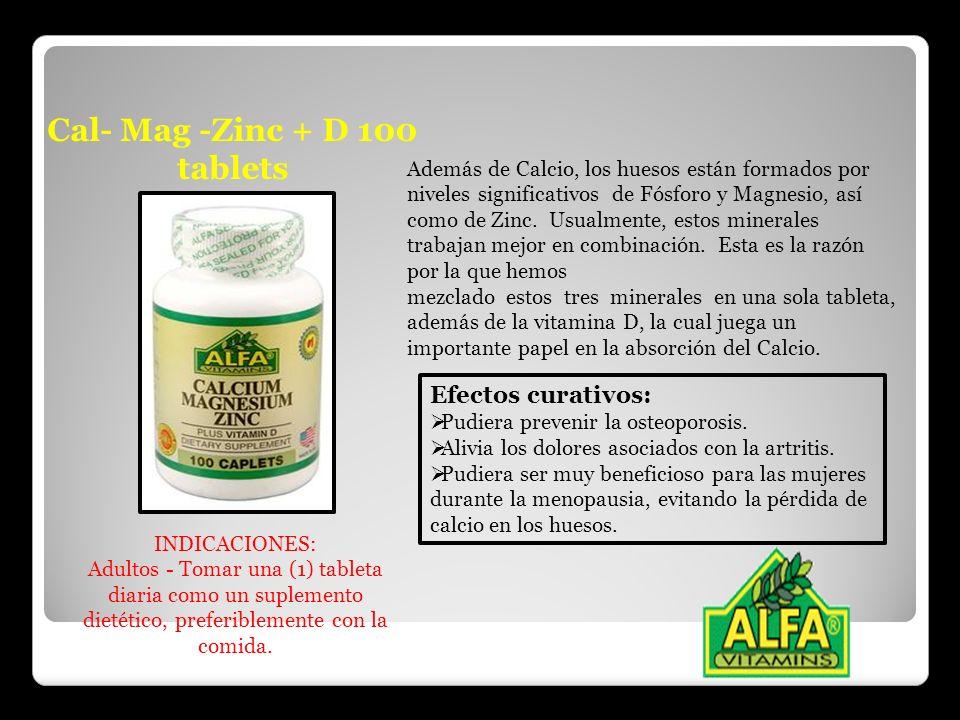 Cal- Mag -Zinc + D 100 tablets Además de Calcio, los huesos están formados por niveles significativos de Fósforo y Magnesio, así como de Zinc. Usualme