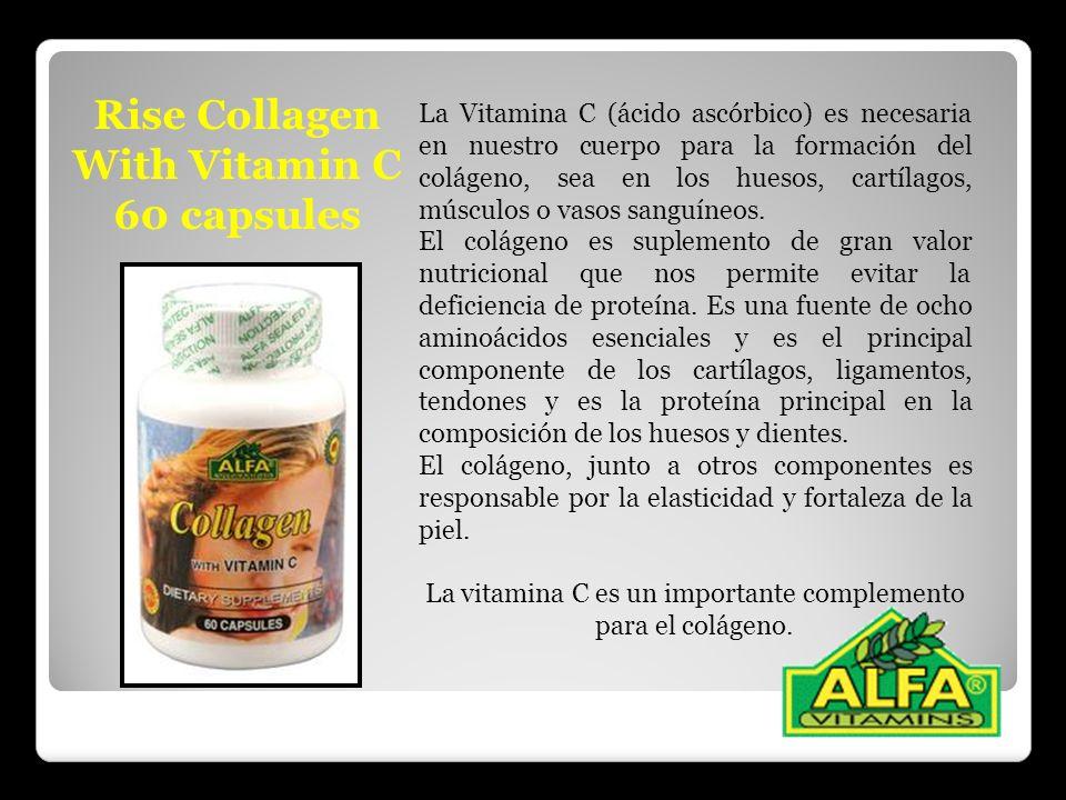 Rise Collagen With Vitamin C 60 capsules La Vitamina C (ácido ascórbico) es necesaria en nuestro cuerpo para la formación del colágeno, sea en los hue