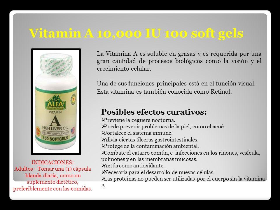 Vitamin A 10,000 IU 100 soft gels Posibles efectos curativos: Previene la ceguera nocturna. Puede prevenir problemas de la piel, como el acné. Fortale