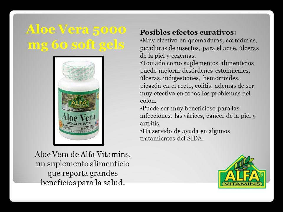 Aloe Vera 5000 mg 60 soft gels Aloe Vera de Alfa Vitamins, un suplemento alimenticio que reporta grandes beneficios para la salud. Posibles efectos cu