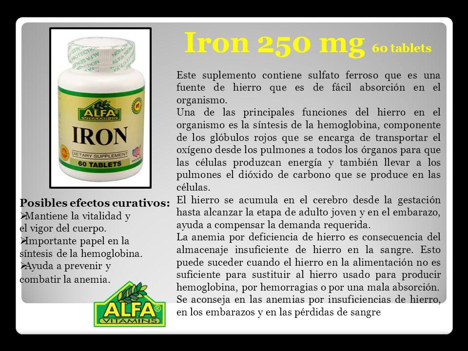 Iron 250 mg 60 tablets Este suplemento contiene sulfato ferroso que es una fuente de hierro que es de fácil absorción en el organismo. Una de las prin
