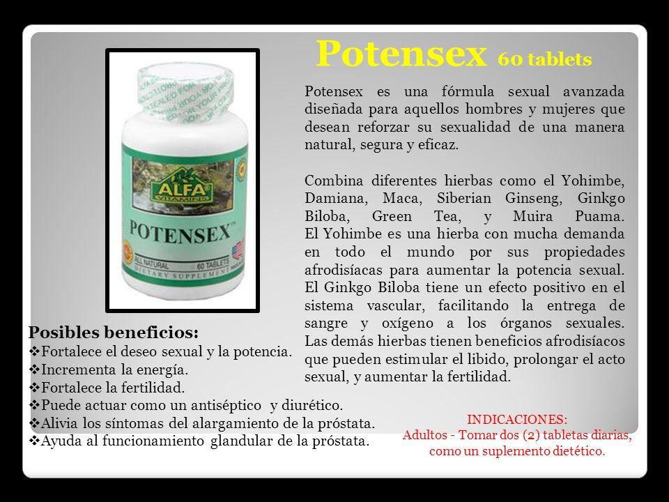 Potensex 60 tablets Potensex es una fórmula sexual avanzada diseñada para aquellos hombres y mujeres que desean reforzar su sexualidad de una manera n