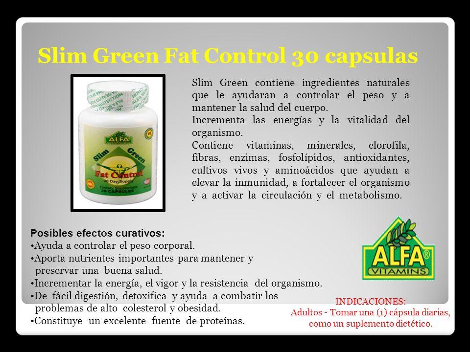 Slim Green Fat Control 30 capsulas Slim Green contiene ingredientes naturales que le ayudaran a controlar el peso y a mantener la salud del cuerpo. In