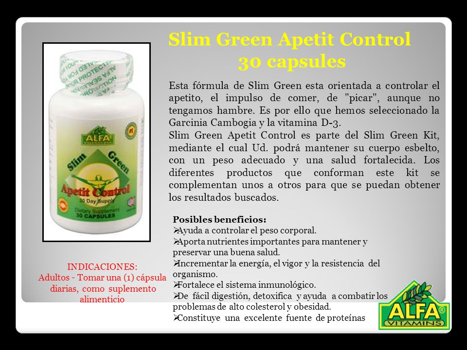 Slim Green Apetit Control 30 capsules Esta fórmula de Slim Green esta orientada a controlar el apetito, el impulso de comer, de