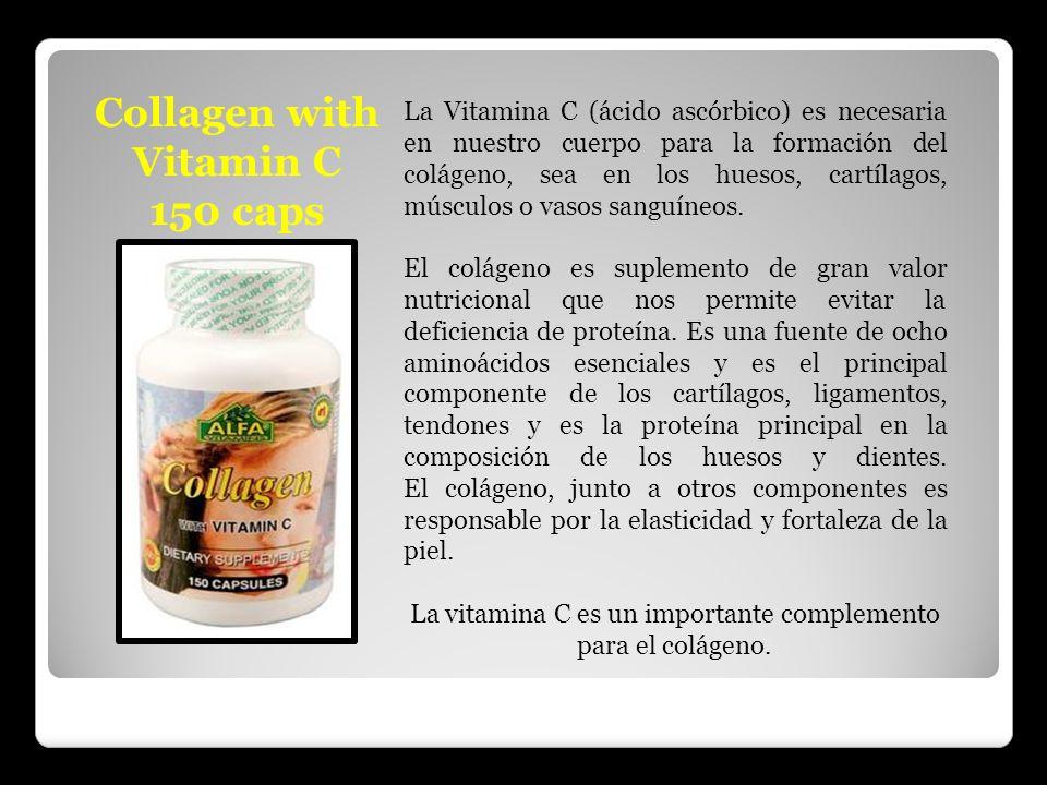 Collagen with Vitamin C 150 caps La Vitamina C (ácido ascórbico) es necesaria en nuestro cuerpo para la formación del colágeno, sea en los huesos, car