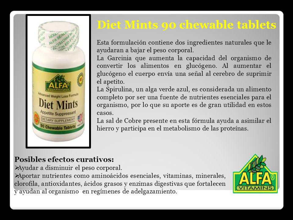 Diet Mints 90 chewable tablets Esta formulación contiene dos ingredientes naturales que le ayudaran a bajar el peso corporal. La Garcinia que aumenta