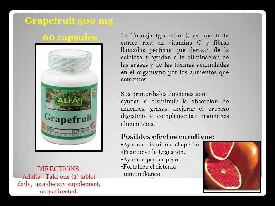 Grapefruit 500 mg 60 capsules La Toronja (grapefruit), es una fruta cítrica rica en vitamina C y fibras llamadas pectinas que derivan de la celulosa y
