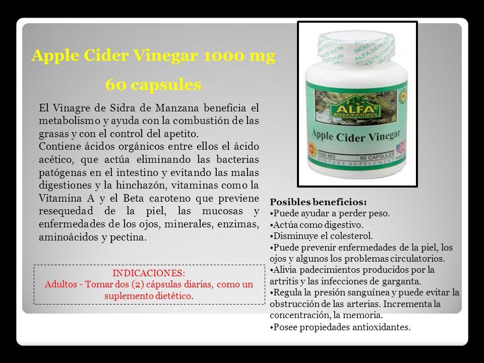 Apple Cider Vinegar 1000 mg 60 capsules El Vinagre de Sidra de Manzana beneficia el metabolismo y ayuda con la combustión de las grasas y con el contr