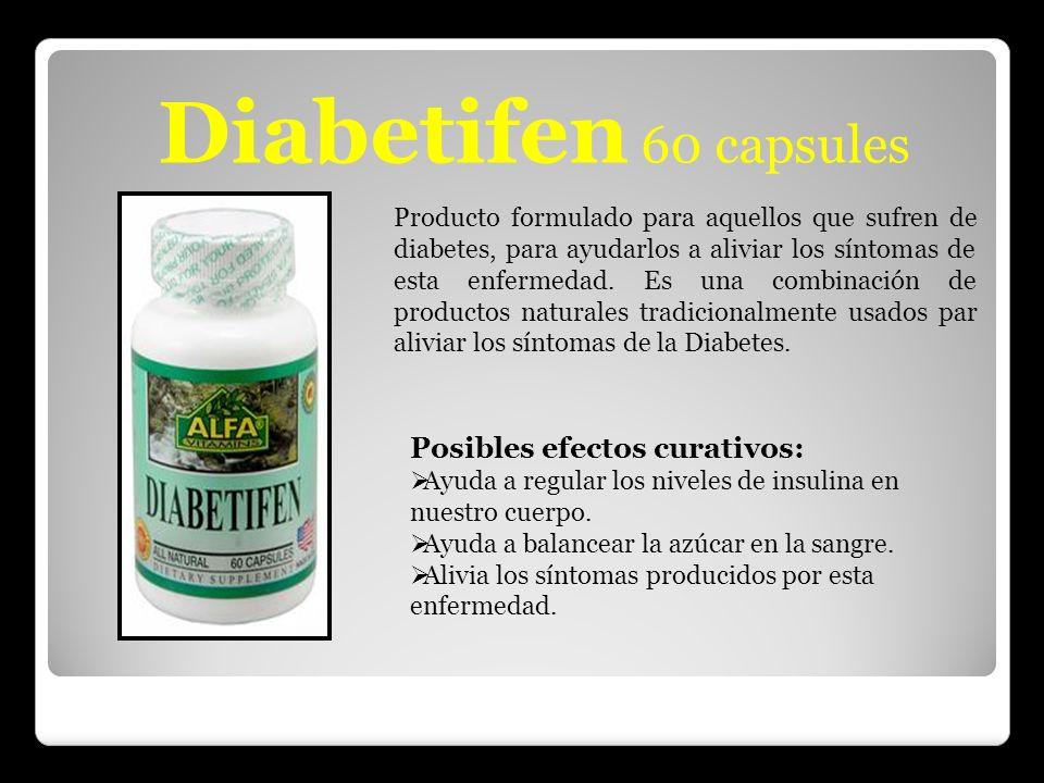 Diabetifen 60 capsules Producto formulado para aquellos que sufren de diabetes, para ayudarlos a aliviar los síntomas de esta enfermedad. Es una combi
