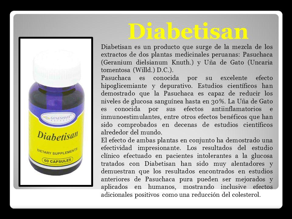 Diabetisan es un producto que surge de la mezcla de los extractos de dos plantas medicinales peruanas: Pasuchaca (Geranium dielsianum Knuth.) y Uña de