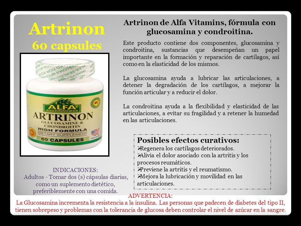 Artrinon 60 capsules Artrinon de Alfa Vitamins, fórmula con glucosamina y condroitina. Este producto contiene dos componentes, glucosamina y condroiti